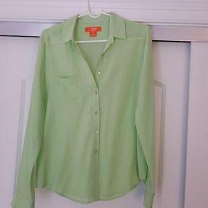 JOE FRESH Button Down Blouse, Light Green Sz M